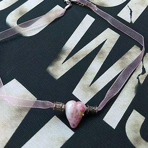 Handmade Glass Heart Choker